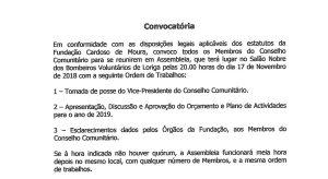 Convocatória dia 17 novembro - FCM